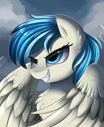 Size: 1446x1764 | Tagged: safe, artist:pridark, oc, oc only, oc:lirae, pegasus, pony, bust, chest fluff, cloud, commission, ear fluff, female, flying, gritted teeth, mare, portrait, solo, spread wings, thunderstorm, wings