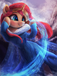 Size: 2250x3000 | Tagged: safe, artist:vanillaghosties, sunset shimmer, pony, unicorn, clothes, crossover, cute, disney, dress, female, frozen (movie), ice, magic, mare, not fiery shimmer, shimmerbetes, smiling, solo