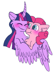 Size: 2100x2800   Tagged: safe, artist:lolwise, pinkie pie, twilight sparkle, alicorn, earth pony, pony, blushing, bust, cheek fluff, chest fluff, curved horn, duo, eyes closed, female, hug, lesbian, mare, shipping, simple background, starry eyes, transparent background, twilight sparkle (alicorn), twinkie, wingding eyes, winghug