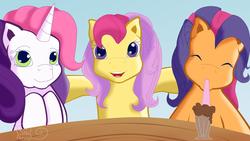 Size: 1024x576   Tagged: safe, artist:suika999, apple spice, scootaloo (g3), sweetie belle (g3), pony, unicorn, g3, cute, g3 cutealoo, g3 diasweetes, milkshake ponies, spiceabetes, trio