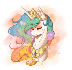 Size: 2690x2600 | Tagged: artist:mlp-norica, bust, collar, crown, eyes closed, female, jewelry, mare, necklace, pony, princess celestia, regalia, safe, simple background, solo, transparent background