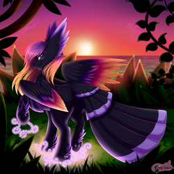 Size: 2400x2400 | Tagged: safe, artist:pinktabico, oc, oc only, oc:blooming lotus, pegasus, pony, colored wings, colored wingtips, commission, feathered ears, feathered fetlocks, female, gradient wings, grass, looking at you, looking back, looking back at you, mare, multicolored mane, multicolored wings, ocean, raised hoof, rear view, sky, smiling, solo, spread wings, standing, sunset, tail feathers, underhoof, water, wings