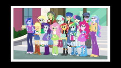 Size: 1920x1080 | Tagged: safe, screencap, applejack, bon bon, derpy hooves, flash sentry, fluttershy, lyra heartstrings, microchips, pinkie pie, princess celestia, princess luna, principal celestia, rainbow dash, rarity, sandalwood, sunset shimmer, sweetie drops, vice principal luna, equestria girls, friendship games, eyes closed, faic, happy, humane five, looking at something, photo, pre sneeze, right there in front of me, smiling, sneezing