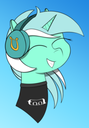 Size: 1546x2237 | Tagged: artist:shobieshy, bust, clothes, eyes closed, female, happy, headphones, lyra heartstrings, pony, safe, shirt, simple background, smiling, solo, tool (band), unicorn