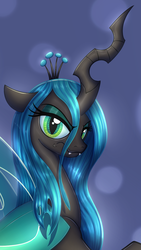 Size: 655x1159 | Tagged: safe, artist:badgerben, artist:evan555alpha, derpibooru exclusive, queen chrysalis, changeling, changeling queen, angry, colored, cropped, female, looking at you, scowl, simple background