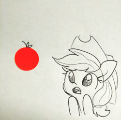 Size: 1440x1430 | Tagged: amazed, apple, applejack, artist:tjpones, cowboy hat, earth pony, female, food, hat, lineart, mare, monochrome, pony, safe, simple background, sketch, solo, stetson, traditional art