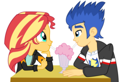 Size: 6000x4000 | Tagged: absurd res, artist:spottedlions, clothes, commission, drinking, equestria girls, female, flash sentry, friendshipping, looking at each other, male, milkshake, safe, simple background, smiling, sunset shimmer, table