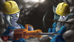 Size: 3840x2160 | Tagged: safe, artist:tsaritsaluna, limestone pie, marble pie, earth pony, pony, clothes, dirty, duo, duo female, female, goggles, hard hat, jackhammer, mine, miner, mining, pickaxe, pie sisters, siblings, sisters, sweat, underground