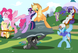 Size: 1750x1200 | Tagged: safe, artist:humble-ravenwolf, applejack, fluttershy, pinkie pie, rainbow dash, rarity, spike, twilight sparkle, oc, oc:ravenhoof, earth pony, pegasus, pony, unicorn, bipedal, boulder, fanning, field, floating wings, juice, lemonade, mane seven, mane six, rock, umbrella