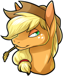 Size: 2963x3566 | Tagged: safe, artist:polyhexian, applejack, pony, bust, female, food, freckles, hair tie, hat, lidded eyes, looking at you, mare, simple background, solo, straw in mouth, transparent background, wheat