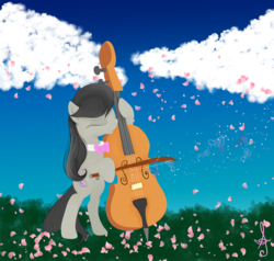 Size: 4861x4628 | Tagged: safe, artist:silversthreads, octavia melody, earth pony, pony, absurd resolution, bow (instrument), bowtie, cello, cello bow, cherry blossoms, cloud, earth, female, flower, flower blossom, mare, musical instrument