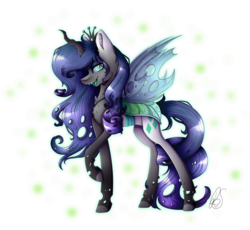 Size: 1808x1660 | Tagged: abstract background, artist:mlp-norica, changeling, crown, cutie mark, fangs, female, fusion, jewelry, looking at you, mare, open mouth, queen chrysalis, rarity, regalia, safe, simple background, solo, transparent background