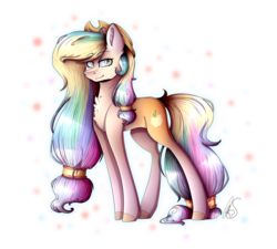 Size: 1765x1589 | Tagged: abstract background, applejack, artist:mlp-norica, cutie mark, earth pony, female, fusion, hair tie, hat, mare, pony, princess celestia, safe, simple background, solo, transparent background