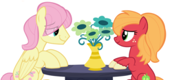 Size: 6496x3032 | Tagged: safe, artist:star-melodyyt, big macintosh, fluttershy, earth pony, pegasus, pony, butterreina, butterscotch, eye contact, female, fluttermac, looking at each other, macareina, male, mare, rule 63, shipping, smiling, stallion, straight