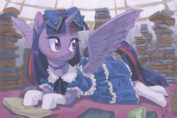 Size: 1800x1200   Tagged: safe, artist:yanamosuda, twilight sparkle, alicorn, pony, blushing, book, bow, clothes, cute, dome, dress, female, frilly dress, hair bow, horn, lolita fashion, looking back, mare, prone, socks, twiabetes, twilight sparkle (alicorn), wings