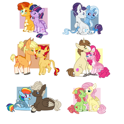 Size: 1024x1024 | Tagged: alicorn, applejack, appleshimmer, artist:flinksea, beanbrows, boop, bow, chest fluff, classical unicorn, cloven hooves, colored wings, colored wingtips, cowboy hat, donut joe, dumbbell, dumbdash, earth pony, eyebrows, female, flutterhugger, fluttershy, glasses, hat, leonine tail, lesbian, male, mare, neck nuzzle, noseboop, :p, pegasus, pinkiejoe, pinkie pie, pony, rainbow dash, rarity, rarixie, safe, shipping, silly, stallion, story included, straight, sunburst, sunset shimmer, tail bow, tongue out, tree hugger, trixie, twiburst, twilight sparkle, twilight sparkle (alicorn), unicorn, unshorn fetlocks