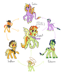 Size: 1500x1749 | Tagged: safe, artist:pikokko, oc, oc only, oc:echeweria, oc:jade, oc:persephone, oc:seed seeker (syd), oc:sunflower (sunny), oc:sunset sky, oc:sunstone, dracony, earth pony, hybrid, pegasus, pony, clothes, cowboy hat, female, fusion, fusion diagram, hat, hexafusion, interspecies offspring, lasso, mare, offspring, parent:applejack, parent:caramel, parent:cheese sandwich, parent:rainbow dash, parent:spike, parent:twilight sparkle, parents:carajack, parents:cheesedash, parents:twispike, poncho, rope, scarf, stetson, yoke