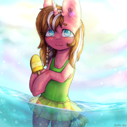 Size: 2000x2000 | Tagged: safe, artist:zefirka, oc, oc only, pony, unicorn, :3, bipedal, clothes, cute, daaaaaaaaaaaw, ear fluff, female, food, freckles, heart eyes, ice cream, looking at you, mare, no pupils, one-piece swimsuit, signature, smiling, solo, swimsuit, wingding eyes