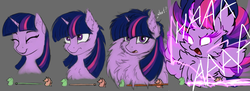 Size: 1658x601 | Tagged: safe, artist:hunternif, artist:pony-way, derpibooru exclusive, twilight sparkle, alicorn, pony, aaaaaaaaaa, aura, bust, cheek fluff, chest fluff, confused, cute, ear fluff, excessive fluff, eyes closed, female, fluffy, frown, glowing eyes, gray background, lightning, looking up, magic, mare, maximum overfloof, messy mane, neck fluff, open mouth, simple background, smiling, solo, spread wings, static electricity, super saiyan, super saiyan princess, twilight sparkle (alicorn), wat, wide eyes, wing fluff, wings, yelling