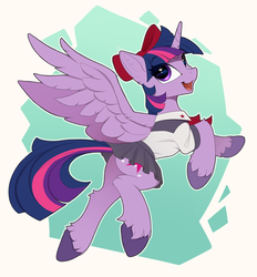 Size: 2100x2265 | Tagged: safe, artist:yakovlev-vad, twilight sparkle, alicorn, pony, abstract background, art, bow, clothes, colored hooves, cute, ear fluff, female, flying, hair bow, leg fluff, looking at you, mare, moe, open mouth, pleated skirt, plot, school uniform, short skirt, skirt, skirt lift, solo, spread wings, twiabetes, twilight sparkle (alicorn), unshorn fetlocks, wings