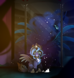 Size: 1908x2012 | Tagged: safe, artist:taiga-blackfield, nightmare moon, princess luna, pony, crying, evil grin, fangs, female, grin, looking at you, looking back, mare, multiple eyes, nightmare luna, reflection, sharp teeth, smiling, solo, teeth, transformation
