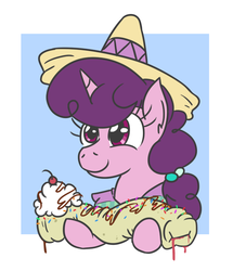 Size: 566x658 | Tagged: artist:jargon scott, burrito, bust, dessert, female, food, hoof hold, ice cream, mare, pony, safe, solo, sombrero, sugar belle, this will end in diabetes, unicorn, whipped cream