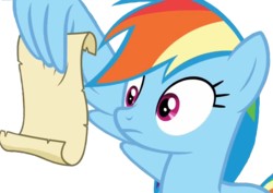 Size: 1140x808 | Tagged: safe, screencap, rainbow dash, grannies gone wild, background removed, rainbow dash reading a scroll, reading, scroll, simple background, transparent background, wing hold