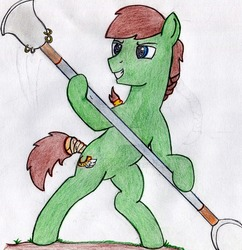 Size: 900x931 | Tagged: safe, artist:drcool13, oc, oc only, oc:swift stride, bad anatomy, male, monk spade, simple background, solo, stallion, traditional art, watermark, weapon, white background
