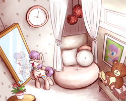 Size: 1280x1024 | Tagged: artist:sugar morning, bed, bedroom, brush, clock, commission, curtain, cute, doll, female, frame, mare, mirror, oc, oc:cutie pie, oc only, painting, pegasus, plant, pony, safe, shabby chic, singing, standing, teddy, teddy bear, toy