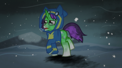 Size: 3840x2160   Tagged: safe, oc, oc:crescent star, crystal pony, clothes, cold, crystal unicorn, glasses, hoodie, snow, snowfall, solo