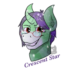 Size: 3000x3000 | Tagged: artist needed, safe, oc, oc only, oc:crescent star, crystal pony, unicorn, crystal unicorn, glasses, male, smiling, solo, stallion