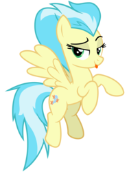 Size: 2400x3200 | Tagged: safe, artist:cheezedoodle96, misty fly, pegasus, pony, grannies gone wild, .svg available, female, flying, lidded eyes, looking at you, mare, raspberry, simple background, solo, svg, tongue out, transparent background, vector