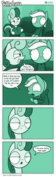 Size: 726x2266 | Tagged: artist:dori-to, bon bon, bon bon is not amused, book, clothes, comic, comic:silly lyra, female, green background, greenscale, hoodie, lyra heartstrings, monochrome, pony, safe, silly lyra, speech bubble, sweetie drops, unamused