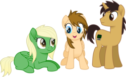Size: 1655x1004 | Tagged: artist:peahead, blonde, blue eyes, brown eyes, female, male, mare, movie accurate, my little pony: the movie, oc, oc:data wave, oc only, oc:stellar winds, pegasus, pony, safe, simple background, smiling, stallion, transparent background, unicorn, vector