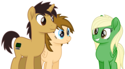 Size: 2749x1517 | Tagged: artist:peahead, blonde, blue eyes, brown eyes, female, grin, male, mare, movie accurate, my little pony: the movie, oc, oc:data wave, oc only, oc:stellar winds, pegasus, pony, safe, simple background, smiling, stallion, transparent background, unicorn, vector