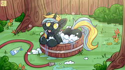 Size: 4987x2805 | Tagged: artist:ruef, backyard, bath, bush, cute, female, flower, grass, hose, mare, oc, oc:electro current, oc only, safe, shampoo, soap, soap bubble, solo, tree, unicorn, water