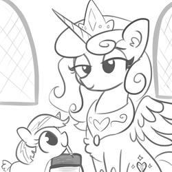 Size: 1650x1650 | Tagged: safe, artist:tjpones, princess flurry heart, alicorn, pony, chest fluff, ear fluff, female, filly, jewelry, mare, monochrome, mother and daughter, next generation, offspring, older, older flurry heart, parent:princess flurry heart, regalia, sketch, smiling