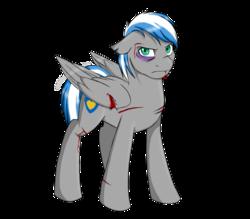 Size: 1600x1400   Tagged: safe, artist:renniksarts, oc, oc only, pegasus, pony, black eye, bleeding, blood, cut, cutie mark, injured wing, male, simple background, solo, stallion, transparent background