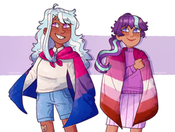 Size: 2000x1500 | Tagged: safe, artist:mochietti, starlight glimmer, trixie, human, alternate hairstyle, bandaid, bisexual pride flag, bisexuality, clothes, cute, dark skin, female, flag, gay, humanized, lesbian, lesbian pride flag, lgbt, lgbt headcanon, male, pride, pride flag, shipping, shorts, skirt, startrix, sweater, tumblr