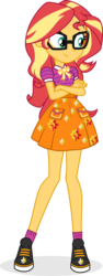 Size: 2404x6388   Tagged: safe, artist:punzil504, sci-twi, sunset shimmer, twilight sparkle, equestria girls, equestria girls series, absurd resolution, adorkable, alternate universe, clothes, clothes swap, crossed arms, cute, dork, female, fusion, glasses, meganekko, shimmerbetes, shoes, simple background, skirt, sneakers, socks, solo, sunspecs shimmer, transparent background