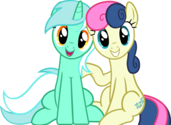 Size: 1426x1042 | Tagged: safe, artist:frownfactory, bon bon, lyra heartstrings, sweetie drops, earth pony, pony, unicorn, grannies gone wild, .svg available, adorabon, cute, cutie mark, female, lesbian, lyrabetes, lyrabon, mare, shipping, simple background, sitting, smiling, svg, transparent background, vector