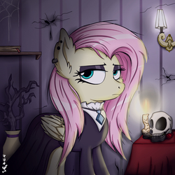 Size: 2000x2000 | Tagged: safe, artist:viejillox64art, fluttershy, pegasus, pony, fake it 'til you make it, alternate hairstyle, clothes, ear piercing, eyeshadow, female, fluttergoth, goth, gothic, looking at you, makeup, mare, piercing, solo