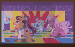 Size: 640x400 | Tagged: artist:herooftime1000, bon bon, cheerilee, dance club, dance floor, dj pon-3, leisure suit larry, lyra heartstrings, oc, oc:bittersweet nocturne, octavia in the underworld's cello, pixel art, ponified, pony, safe, sassaflash, seafoam, sea swirl, sweetie drops, vinyl scratch