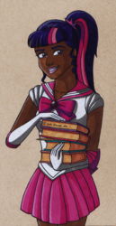 Size: 787x1523 | Tagged: safe, artist:fires-storm, part of a set, sci-twi, twilight sparkle, human, adorable face, adorkable, anime, beautiful, book, clothes, crossover, cute, dark skin, dork, female, humanized, lipstick, pink lipstick, pleated skirt, ponytail, sailor moon, sailor scout, sailor twilight, skirt, smiling, solo, traditional art, twiabetes, woman