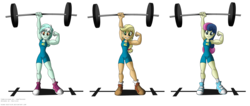 Size: 2249x950 | Tagged: safe, artist:niban-destikim, applejack, bon bon, lyra heartstrings, sweetie drops, equestria girls, applejacked, barbell, biceps, blonde, bon bombastic, clothes, commission, converse, flexing, hatless, lifting, lyra hamstrings, missing accessory, muscles, shoes, simple background, smiling, strong, stronk, super strength, transparent background, weight lifting, wondercolts