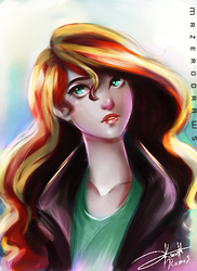 Size: 349x480   Tagged: safe, artist:bunsogen, sunset shimmer, human, anatomically incorrect, are you frustrated?, clothes, female, humanized, jacket, leather jacket, long neck, signature, solo