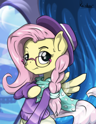 Size: 4881x6251 | Tagged: absurd res, alternate hairstyle, artist:rainihorn, clothes, fake it 'til you make it, female, fluttershy, glasses, hipstershy, mare, pegasus, pony, safe, solo, sweater, sweatershy, valley girl
