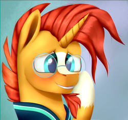 Size: 2197x2062 | Tagged: safe, artist:equestrian-downfall, sunburst, pony, unicorn, blushing, bust, cute, facial hair, glasses, goatee, gradient background, male, portrait, solo, stallion, sunbetes