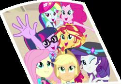 Size: 1529x1067 | Tagged: safe, artist:thebar, edit, edited screencap, screencap, applejack, fluttershy, pinkie pie, rainbow dash, rarity, sci-twi, sunset shimmer, twilight sparkle, equestria girls, equestria girls series, forgotten friendship, clothes, cowboy hat, female, hat, humane five, humane seven, humane six, photo, simple background, swimsuit, transparent background, wetsuit