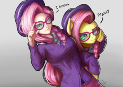 Size: 1024x723 | Tagged: artist:the-park, duo, fake it 'til you make it, female, fluttershy, hipstershy, human, humanized, human ponidox, looking at you, pony, safe, self ponidox, simple background, spoiler:s08e04